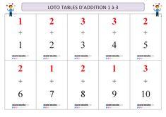 Un jeu de loto pour apprendre et mémoriser les tables d'addition de 1 à 3. Table Addition, 9 And 10, Tables, Words, 7th Grade Classroom, Learn Math, Mesas