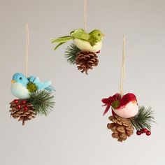 One of my favorite discoveries at WorldMarket.com: Fabric Bird on Pinecone Ornaments, Set of 3