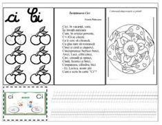 """Text suport """"Surprizele lui Moș Crăciun"""" și fișe de lucru pentru grupul de litere ci/Ci cu liniatură tip I, fișe pentru scrierea grupului de litere Diagram, Bullet Journal, Classroom, Album, Education, Words, Kdrama, Learning To Write, Reading"""