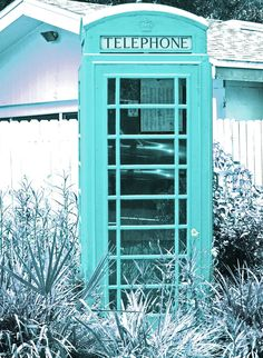 Retro Aqua 5x7 Photo Signed  Matted, Cottage Photography, Old Telephone Booth, Cottage Chic, Shabby and Chic, Turquoise Decor, Wall Art. $13.00, via Etsy.