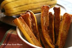 DELICATA SQUASH FRIES ~ Less carbs than other types of squash, at 6g net carbs for 3/4 cup
