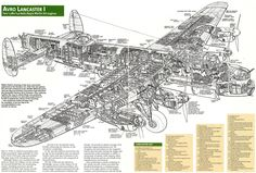 Avro Lancaster Mk I cutaway Ww2 Aircraft, Aircraft Pictures, Military Aircraft, Aircraft Carrier, Military Cross, Lancaster Bomber, Vintage Airplanes, Aircraft Design, Royal Air Force