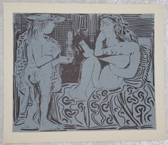 Pablo Picasso,  1950's  Deux Femme,  Original Linogravure,  Original Vintage Art,  Antique Art,  Ready To Ship,  Blue and Black Decor by FunFloridaVintage on Etsy