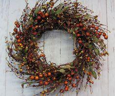 Fall Wreaths  Fall Mix Pip Berry Wreath  by Designawreath on Etsy