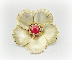 Vintage Gold Flower Brooch Pin, Red Bead Brooch, Moonglow Lucite Brooch, Spring Summer Floral Pin, 1950s 1960s Mad Men Costume Jewelry by RedGarnetVintage, $8.00