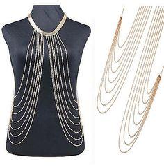 Körperkette Körperschmuck Bauchkette Body Chain Collier Halskette Kette Gold