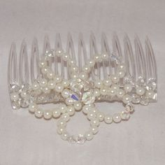 Beautiful bridal hair comb with cream glass pearls and clear/clear AB glass crystals - pinned by pin4etsy.com