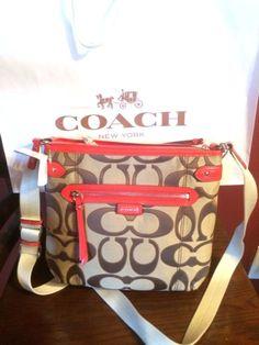Coach crossbody vermillion & khaki signature