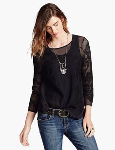 Lucky Brand Embroidered Mesh Top Womens - Lucky Black (M)