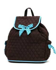 Brown/Blue Drawstring Backpack. This is really cute.