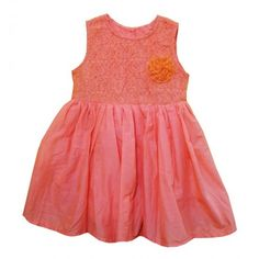 Bella Moda Girls Rose Print Cotton Summer Frock (Orange) #summerdresses #dressesforgirls #babyfrocks