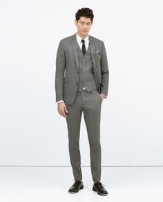 GREY SUIT WITH GLASSES DETAIL from Zara