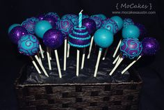 Purple and turquoise birthday cake pops - MoCakes