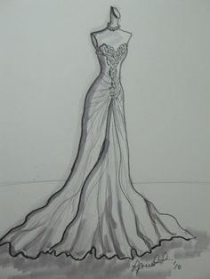 Your Wedding Dress/Special Occasion Custom Illustration sketch 11 x 14. $75.00, via Etsy.