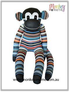 Fergus Grey thin stripe Sock Monkey  Adopt over at monkeyandme.com.au #sockmonkeys #gifts #toys