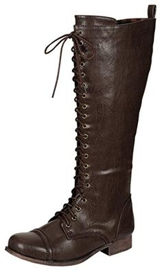 e93404dddc11 STYLUXE Women s Pagg Faux Leather Brown Lace Up Combat Boots