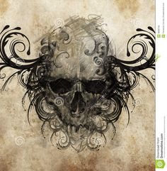 Sketch Of Tattoo Art, Skull With Tribal Flourishes Stock ...