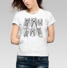 Черно-белые рисованые совы  - Футболка женская белая, Магазин футболок BaikalGraphics