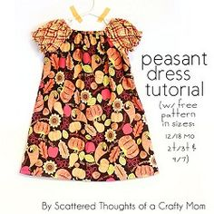 Free pattern: Peasant dress for toddler and little girls - Free Crafts, Handmade Gift Ideas, DIY Projects, Patterns and Tutorials