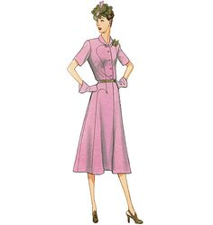 Vintage Vogue 1930's sewing pattern. Pullover dress (fitted through bust) has shoulder pads, front extending into upper collar and pocket, yoke back extending into under collar, side-front bodice and skirt seams, darted sleeve cap, decorative stitching for arrow head trim, front button opening, and side-snap (extension) or zipper closing. V9127, Misses' Dress