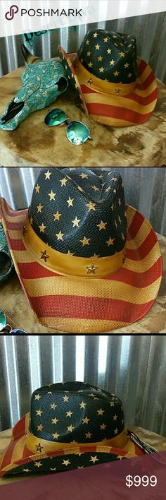 ??Coming Soon!! American Honey Stars and Stripes, American Flag Cowboy / Cowgirl hat. Antique, vintage look straw hat with OSFM elastic band inside.  Faux leather hatband with stars. Perfect for your next Spring or Summer outing, concert, festival, beach, pool, lake, Memorial Day. You can't wear this and NOT have fun! July 4th. Will be $45 Please comment below to be notified when these beauties come in! Accessories Hats