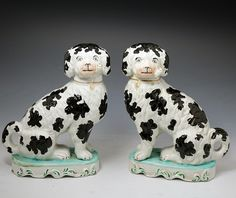 Victorian Staffordshire dogs smoking pipes - Disraeli style