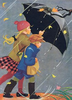 Young girl and boy walking in the rain with an umbrella. Illustration by Martta Wendelin Art And Illustration, Walking In The Rain, Singing In The Rain, Boy Walking, Umbrella Art, Rainy Days, Vintage Children, Autumn Leaves, Autumn Rain