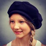 ZUTmarie beret available in soft black Italian designer gaberdine or vintage French pinstripe fabric.