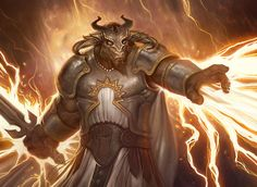 Titus Lentulus, the minotaur paladin, one-eye, blind, D&D, DnD, RPG, fantasy character, concept art. by Mpatsu on RPG2IC