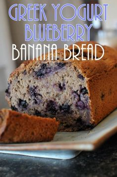 This Greek Yogurt Blueberry Banana Bread comes out super moist and delicious!