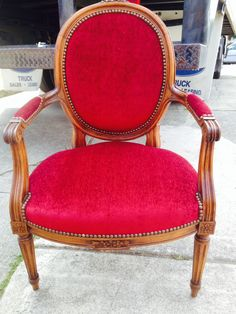 Reupholstered Antique French Arm Chair in a Red Velvet with Decorative Nailhead Trim.
