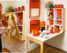 Small spaces can be a challenge to decorate and store your belongings. See 5 hidden storage solutions for small spaces that will blow your mind. Tiny Spaces, Small Apartments, Rv Storage Solutions, Storage Ideas, Book Storage, Storage Design, Folding Walls, Folding Chairs, Table Design