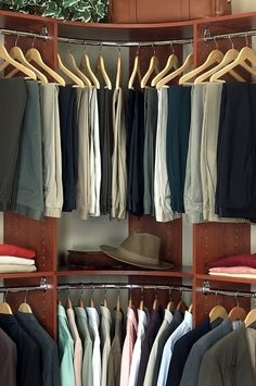 Curved Rod - Less wasted space in the corners of walk in closets!