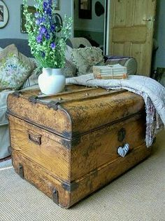We stock a range of original antique and vintage treasures with a genuine shabby chic feel. Everything from painted furniture, textiles, kitchenalia, china and clothing, to name but a few ! Old Trunks, Vintage Trunks, Trunks And Chests, Antique Trunks, Vintage Suitcases, Vintage Luggage, Vintage Crates, Antique Furniture, Painted Furniture