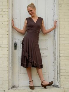 Ruffled Wrap Dress Bamboo and Organic Cotton by yanadee on Etsy