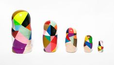 Love these modern nesting dolls painted by Canadian designer Audrée Lapierre