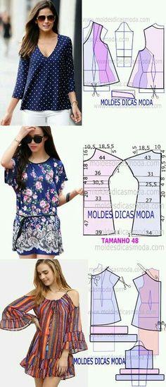 ♥ moldes blusa♥ Más a