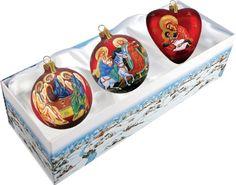 G. Debrekht Set of 3 Nativity Glass Ornaments