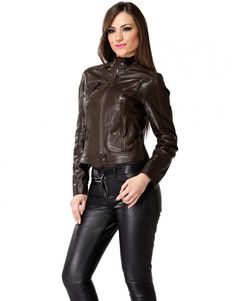 Brown leather jacket black leather pants