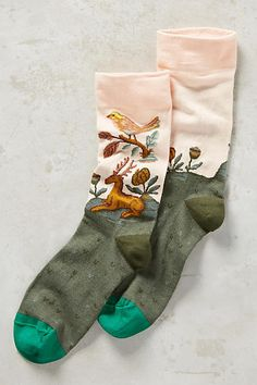 Woodland Meeting Crew Socks - anthropologie.com