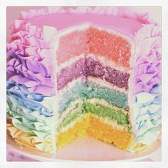 Pastel rainbow cake yup this is going to happen!