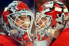 Brodeur mask 2010 Olympics - Team Canada - Vancouver - gold medal winner Hockey Helmet, Hockey Goalie, Hockey Players, Football Helmets, Nhl, Martin Brodeur, Canada Hockey, Gold Medal Winners, Masks