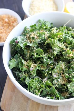 Lemon Kale Salad Lemon Kale Salad from Bake Your Day Easy Healthy Recipes, Whole Food Recipes, Vegetarian Recipes, Easy Meals, Cooking Recipes, Kale Salad Recipes, Clean Eating, Healthy Eating, Healthy Recipes