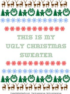 DIY This is My Ugly Christmas Sweater design http://www.kidscanhavefun.com/christmas-crafts.htm #diychristmas #homemade #uglysweater