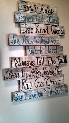 House rules sign family rules sign wood signs wood signs sayings wall signs home rules pallet signs wood signs home Wood Pallet Projects family Home House Pallet rules sayings sign Signs wall Wood Wood Pallet Signs, Pallet Art, Diy Pallet Projects, Wood Pallets, Pallet Wall Decor, Pallet Walls, Wood Pallet Crafts, Pallet Decorations, Home Crafts Diy Decoration