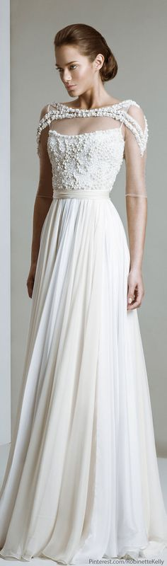 like: overall shape, details on top (including variation in color), belted, flow of bottom ||| dislike: cant see back, coverup on shoulders, not sure about little balls, mixed feelings about 2 tone bottom Tony Ward Bridal 2014
