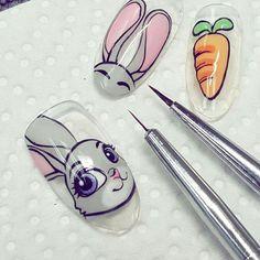 Animal Nail Designs, Easter Nail Designs, Animal Nail Art, Easter Nail Art, Diy Nail Designs, Cute Nails, Pretty Nails, Nail Art Dessin, Nail Drawing