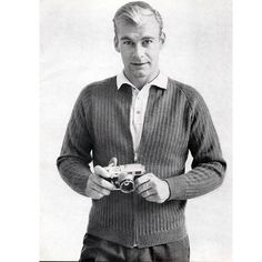 Mens Front Zip Cardigan Jacket Knitting Pattern.  This is a great looking mens sweater jacket. It features a front zip opening, raised rib pattern stitch and raglan sleeves. The pattern is vintage 1960s from Columbia Minerva.