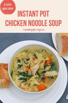 EASY chicken noodle soup with kale that is cooked in under 30 minutes in the Instant Pot. It is SO healthy, delicious and simple that ANYONE can make it. Few basic ingredients and you have a comforting one-pot meal for those busy weeknights! #ministryofcurry #instantpot Quick Soup Recipes, Instant Pot Dinner Recipes, Kale Recipes, Noodle Recipes, Curry Recipes, Easy Chicken Recipes, Healthy Recipes, Pressure Cooker Recipes Pasta, Healthy Thanksgiving Recipes
