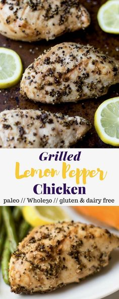 A quick and easy protein, this Grilled Lemon Pepper Chicken is just 5 ingredients and perfect for an easy summer meal - paleo, gluten free, and Whole30! - Eat the Gains